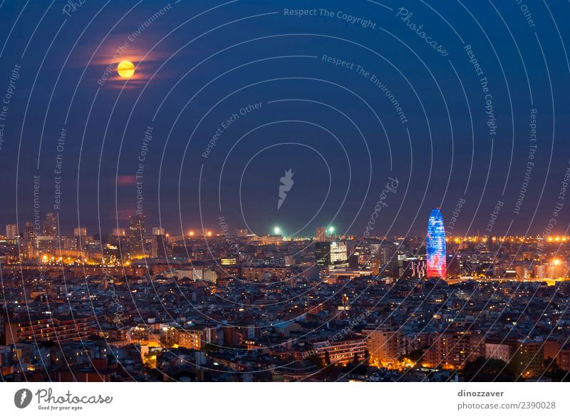 Barcelona at night Vacation & Travel Tourism Sightseeing Ocean Art Sky Moon Town High-rise Building Architecture Monument Street Blue Spain agbar Fight bull