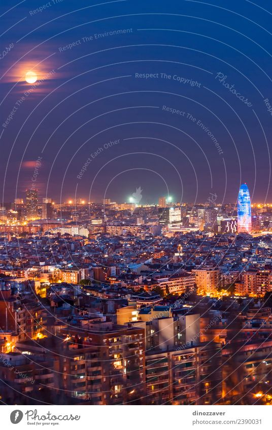 Barcelona at night Sky Vacation & Travel Blue Town Ocean Street Architecture Building Art Tourism High-rise Vantage point Europe Illuminate Spain Monument