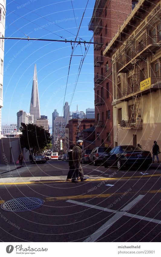 San Francisco Man North America Mixture Trans America Building house corner Cable Line