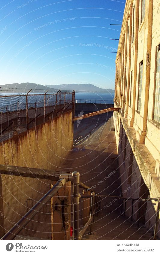 Wall (building) Mountain Stairs Illuminate Penitentiary North America San Francisco Alcatraz