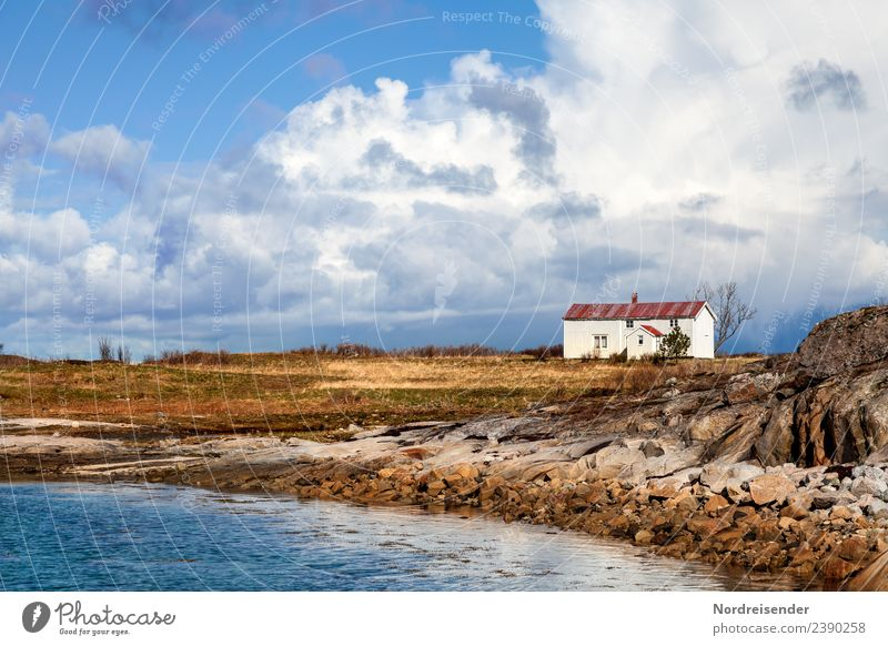 Sky Vacation & Travel Nature Summer Water Landscape Ocean House (Residential Structure) Clouds Far-off places Autumn Spring Meadow Coast Grass Building