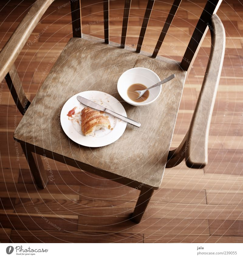 White Food Brown Flat (apartment) Empty Beverage Coffee Chair Crockery Delicious Plate Baked goods Bowl Knives Wooden floor Cutlery