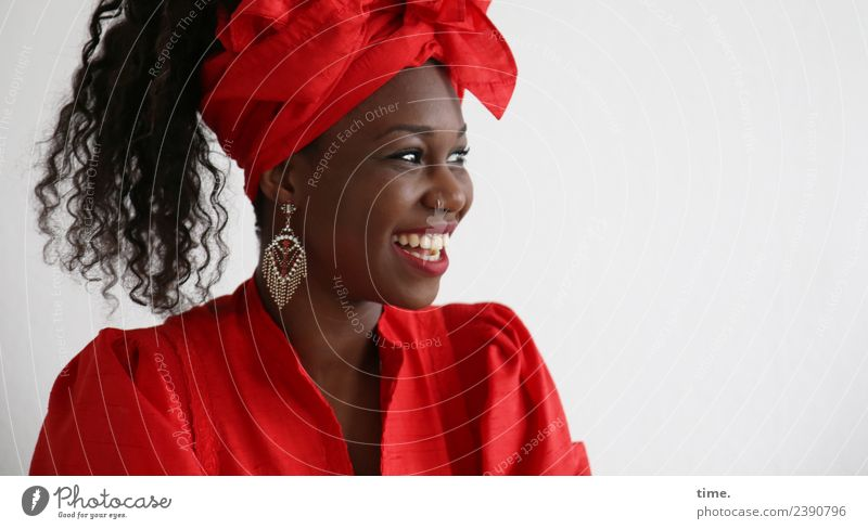 Apolline Feminine Woman Adults 1 Human being Dress Earring Headscarf Hair and hairstyles Black-haired Curl Afro Observe Laughter Looking Friendliness Happiness