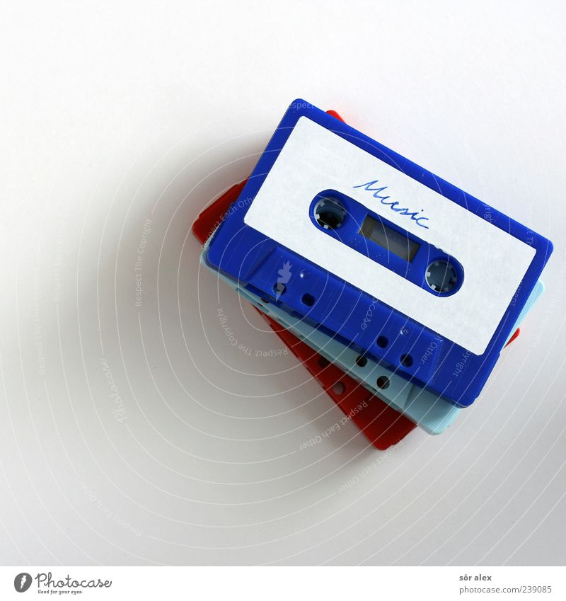 Music Tape cassette Plastic Old Retro Blue Red White Cool (slang) Listen to music Hit Entertainment electronics Entertainment industry Media Nostalgia