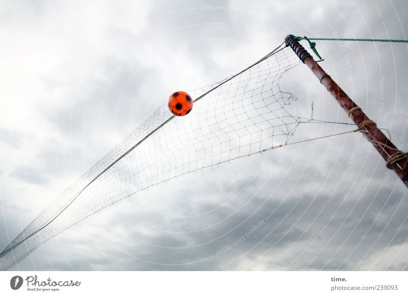 Sky Sports Playing Flying Rope Ball Net Pole Wooden stake Ball sports Clouds in the sky Reticular Worm's-eye view Volleyball net