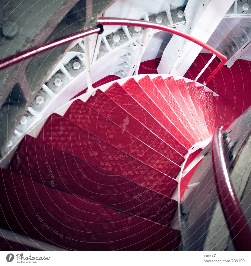 red steppes Lighthouse Stairs Red White Norway Winding staircase Handrail Downward Steel carrier Nut Colour photo Interior shot Deserted Deep depth of field