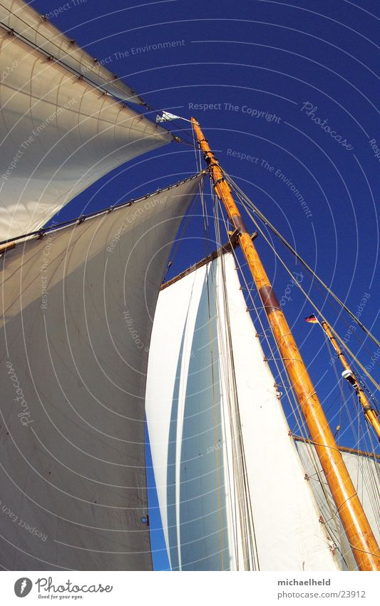 Old Far-off places Wood Watercraft Free Flag Sailing Navigation Baltic Sea Beautiful weather Electricity pylon Blue sky