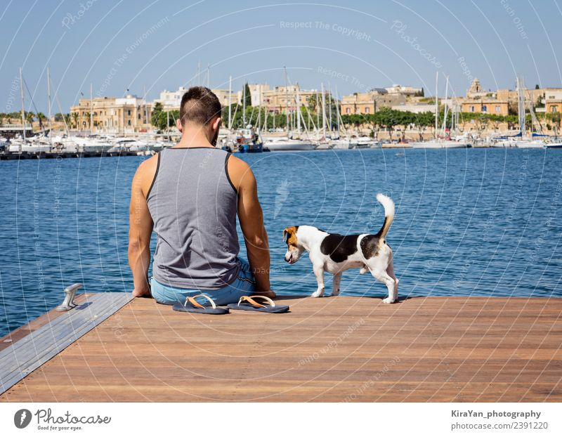 A man with a dog walking on the floating pier Sky Nature Vacation & Travel Dog Man Blue Summer Town Sun Ocean Adults Autumn Funny Coast Wood Happy