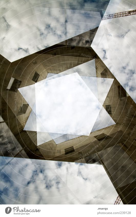 rhomb Style Sky Clouds Manmade structures Building Architecture Facade Tall Uniqueness Modern Crazy Chaos Advancement Perspective Planning Change Skyward
