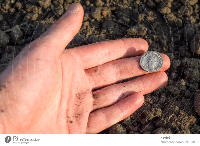 Roman silver coin (denarius) in the hand of an archaeologist Luxury Business Human being Adults Hand Fingers 1 18 - 30 years Youth (Young adults) Art Exhibition