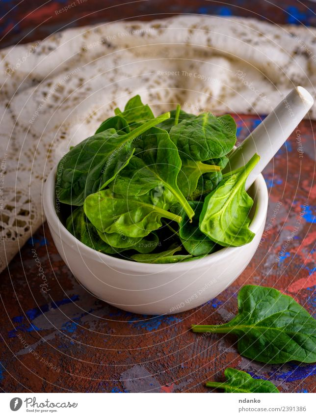 fresh green spinach leaves Vegetable Lettuce Salad Nutrition Vegetarian diet Diet Plate Bowl Table Nature Plant Leaf Wood Fresh Natural Green White mortar Raw