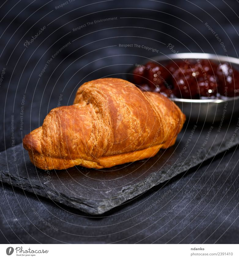 baked croissant Fruit Croissant Candy Jam Eating Breakfast Lunch Table Delicious Brown Red Black Snack Strawberry Rustic Baked goods sweet Home-made Sandwich
