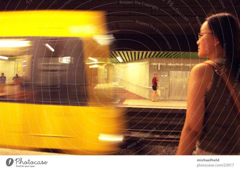 Woman Movement Wait Arm Transport Railroad Speed Driving Underground Stuttgart Passenger Platform Asians