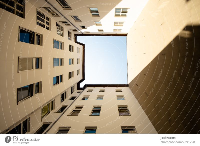 Backyard Atrium Cloudless sky Beautiful weather Town house (City: Block of flats) Facade Window Fire wall Authentic Sharp-edged Gloomy Symmetry