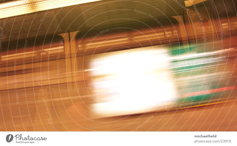 Stuttgart on the move Speed Stripe Poster Light Advertising Underground Transport Railroad light rail Movement Blur
