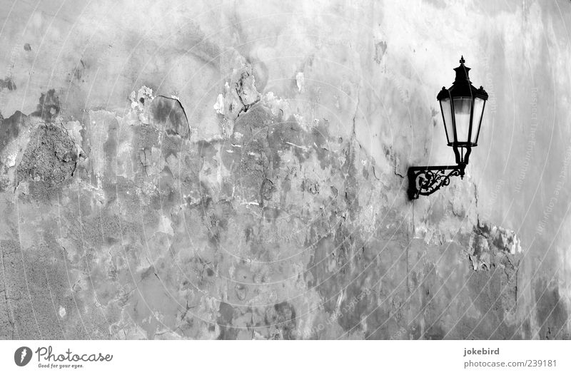old part Old town City wall Wall (barrier) Wall (building) Facade Lamp Lantern Street lighting Decoration Plaster Rendered facade Stone Historic Decline Past