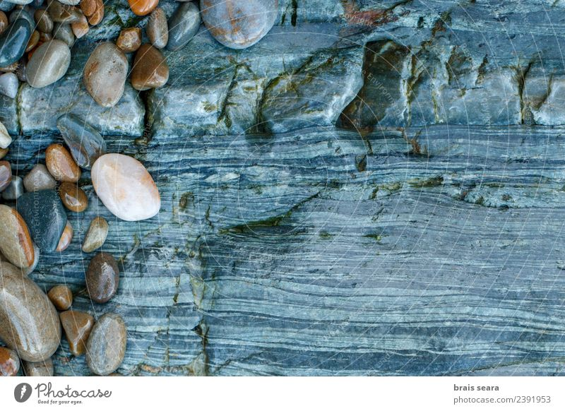 Pebbles over stone composition for background. Nature Blue Landscape White Ocean Relaxation Calm Beach Environment Natural Coast Art Stone Brown Copy Space Sand