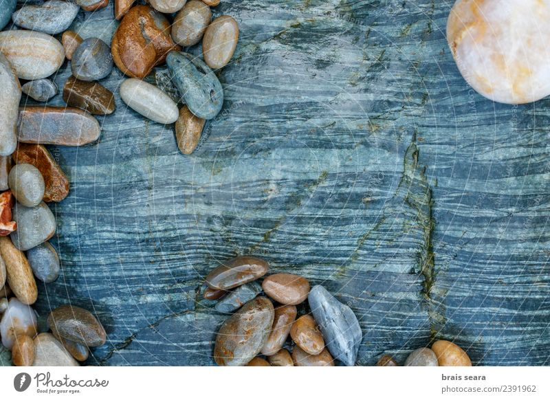 Pebbles over stone composition for background. Nature Blue Colour Landscape White Ocean Relaxation Calm Beach Environment Natural Coast Art Stone Brown
