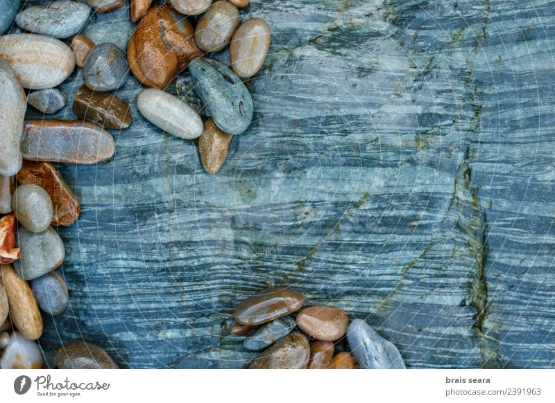 Pebbles over stone composition for background. Nature Blue Colour Landscape White Ocean Relaxation Calm Beach Environment Natural Coast Art Stone Group Brown