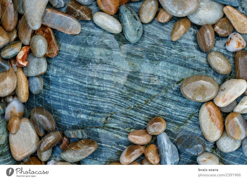 Pebbles over stone composition for background. Nature Blue Colour Water Landscape White Ocean Relaxation Calm Beach Environment Natural Coast Art Stone Brown