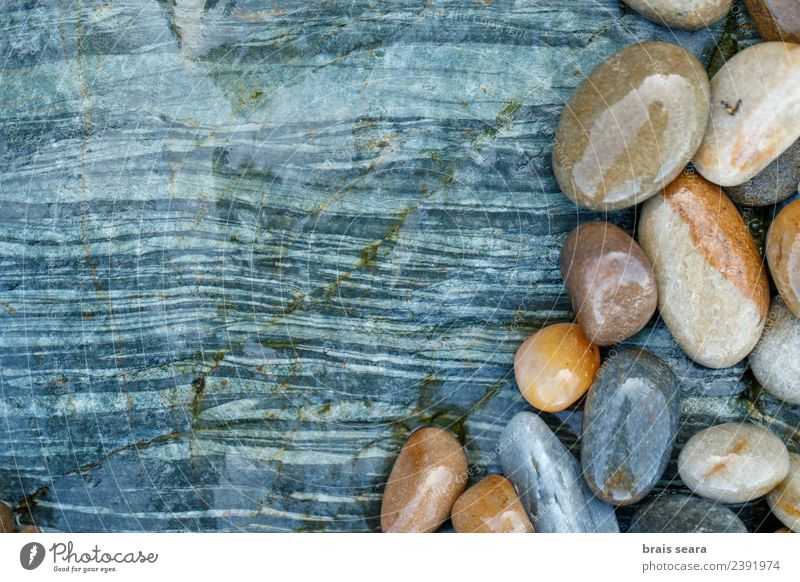 Pebbles over stone composition for background. Nature Blue Colour Water Landscape White Ocean Relaxation Calm Beach Environment Natural Coast Art Stone Group