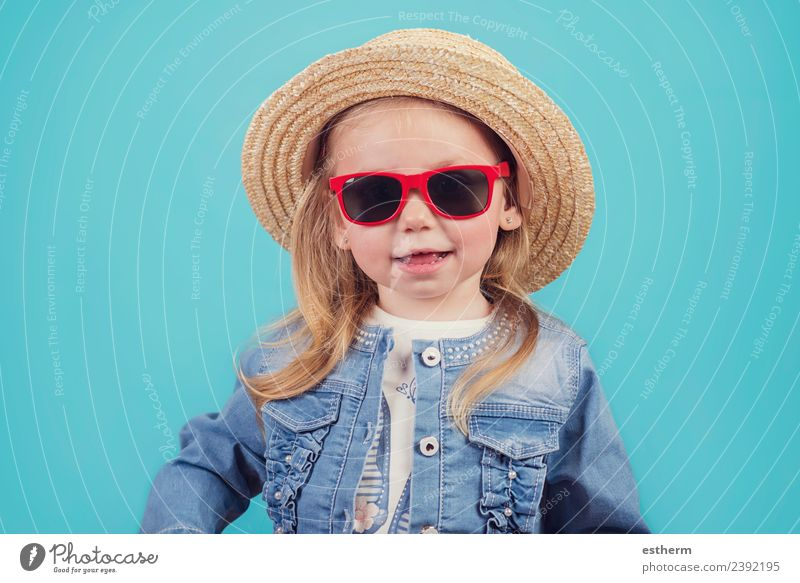 baby with hat and sunglasses Child Human being Vacation & Travel Joy Girl Lifestyle Funny Emotions Feminine Small Tourism Trip Infancy Happiness Adventure