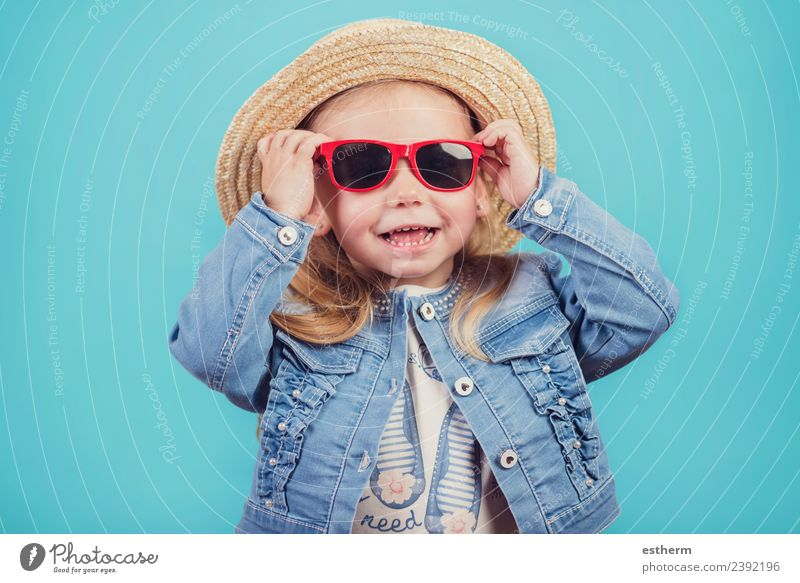 baby with hat and sunglasses Lifestyle Joy Vacation & Travel Tourism Adventure Human being Feminine Baby Girl Infancy 1 3 - 8 years Child Sunglasses Hat