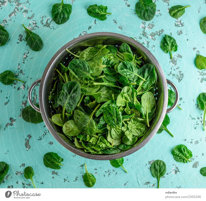 spinach leaves in an iron colander Vegetable Vegetarian diet Plate Healthy Eating Table Nature Plant Leaf Sieve Fresh Natural Above Green Health care Spinach