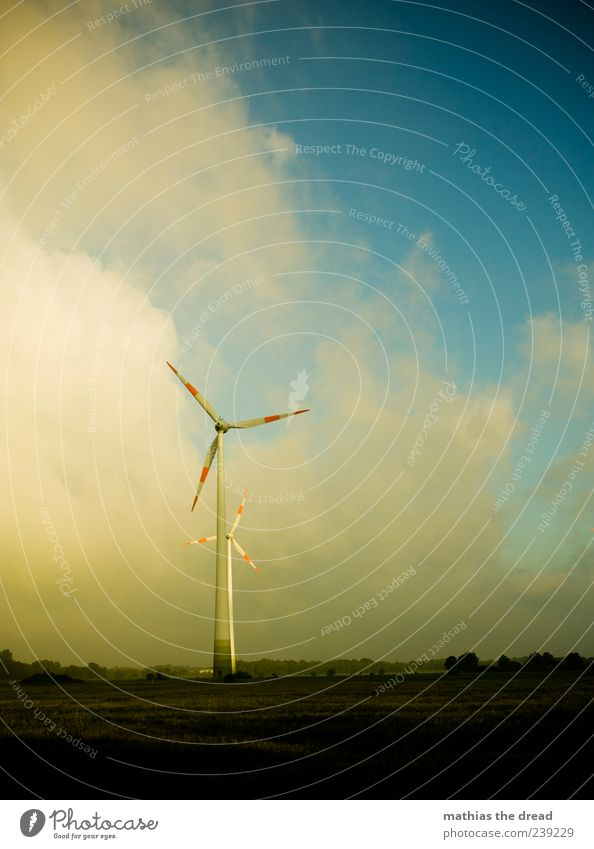 windmills Technology Advancement Future Energy industry Wind energy plant Energy crisis Environment Nature Landscape Plant Sky Clouds Horizon Weather