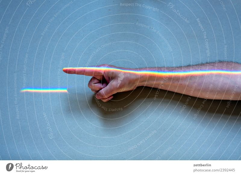 Human being Man Colour Hand Copy Space Arm Fingers Indicate Physics Rainbow Beam of light Parts of body Refraction Spectral Prism Underarm