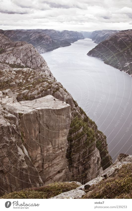 outlook Human being Clouds Mountain Coast Fjord Tall Far-off places Norway Lysefjord Steep Cliff Edge Vacation & Travel Subdued colour Exterior shot