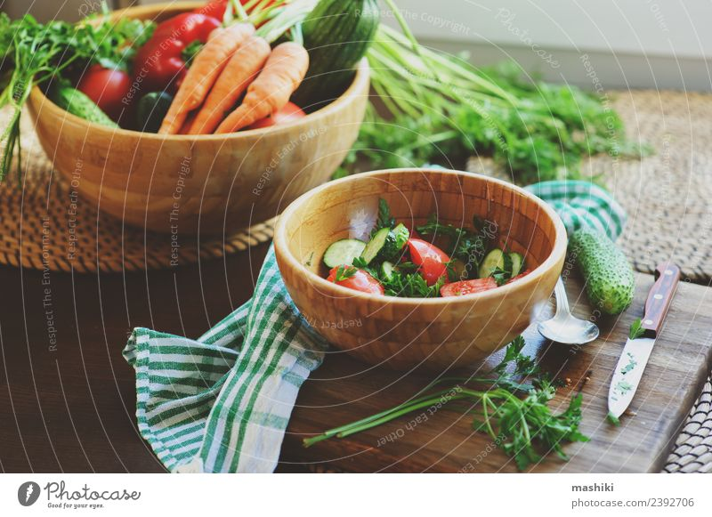 fresh salad with cucumbers and tomatoes Vegetable Lunch Dinner Plate Lifestyle Summer Table Kitchen Wood Growth Fresh cook Salad Cut Home Housekeeping Tomato