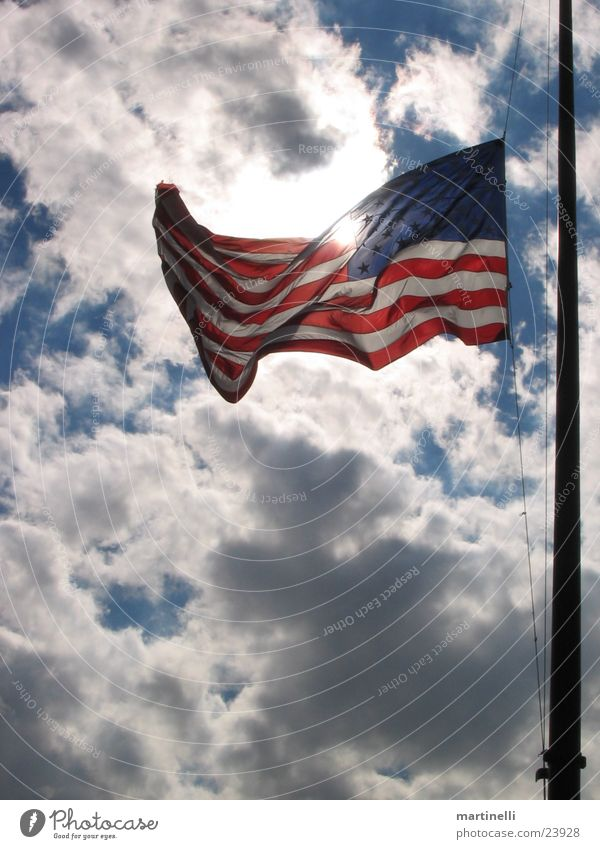 Sky Clouds Americas Wind USA Flag American Flag Blow Clouds in the sky X-rayed Flags at half mast