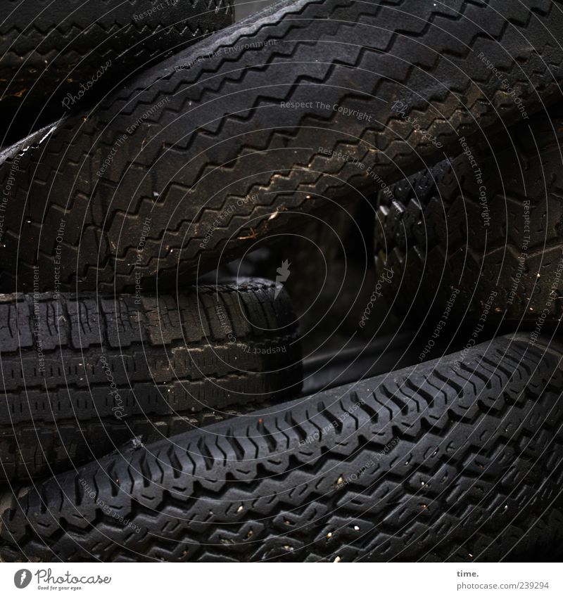 Old Black Dirty Multiple Change Tire tread Recycling India rubber