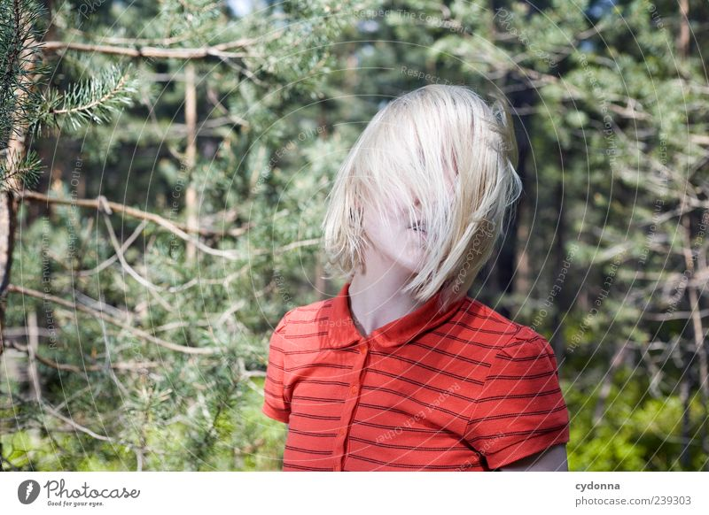 Human being Nature Youth (Young adults) Beautiful Calm Adults Forest Relaxation Environment Life Movement Freedom Hair and hairstyles Style Dream Blonde