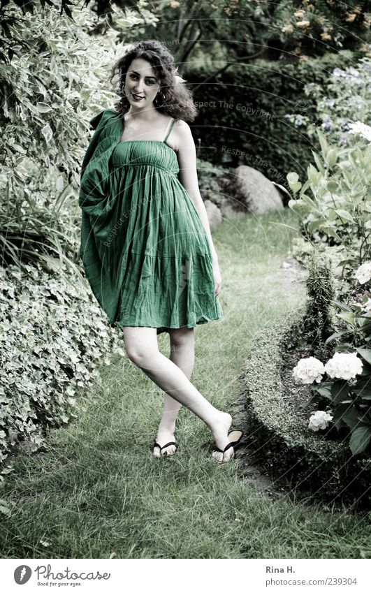 Human being Nature Youth (Young adults) Green Summer Adults Feminine Garden Fashion Bright Young woman Tall 18 - 30 years Stand Dress Smiling