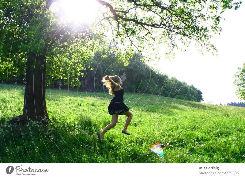 Holla the forest fairy. Environment Nature Landscape Horizon Plant Grass Bushes Smiling Running Happy Infinity Feminine Wild Green Joie de vivre (Vitality)