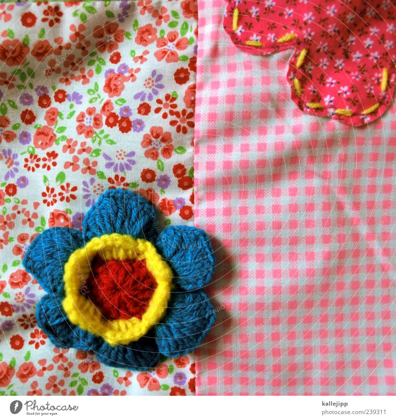 fabric flowers Decoration Flower Cloth Pattern Crocheted Checkered Pink Blue Stitching combination combine Connect Rag Textiles Colour photo Multicoloured