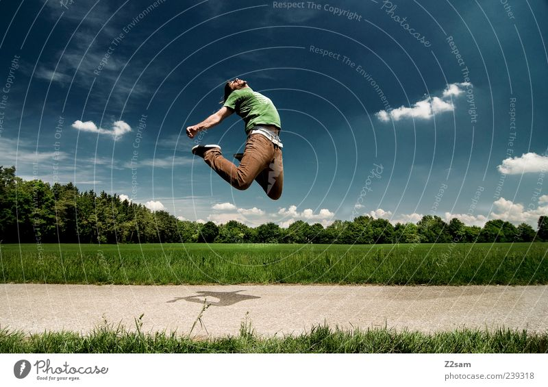 Human being Sky Nature Youth (Young adults) Blue Green Tree Clouds Adults Landscape Grass Freedom Jump Style Brown Field