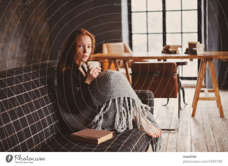 young sick woman healing at home Woman Relaxation Winter Adults Warmth Lifestyle Autumn Wood Metal Dream Modern Couch Illness Model Pain Home