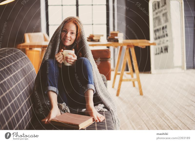 young sick woman healing at home Woman Relaxation Winter Dark Adults Warmth Lifestyle Autumn Metal Modern Soft Couch Hot Illness Home Tea