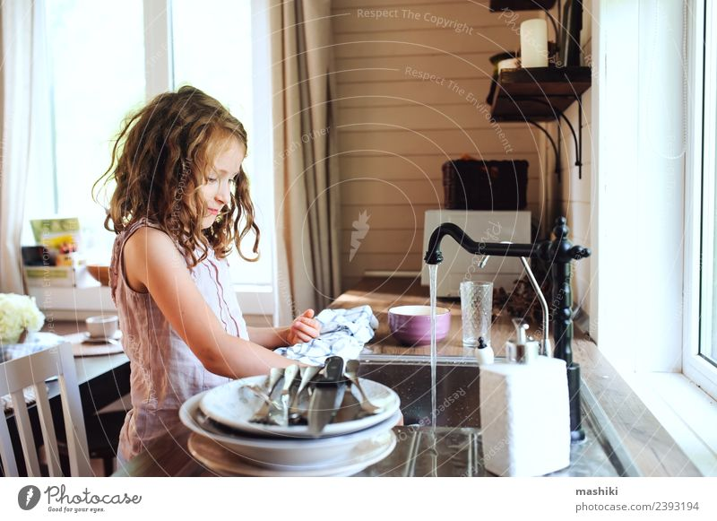 child girl wash dishes in kitchen Dinner Plate Lifestyle House (Residential Structure) Kitchen Child Work and employment Woman Adults Mother Authentic Small