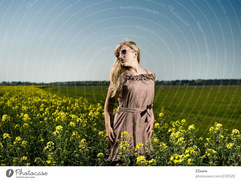 flower power Lifestyle Elegant Relaxation Feminine Young woman Youth (Young adults) 1 Human being 18 - 30 years Adults Nature Landscape Sky Summer Flower Field
