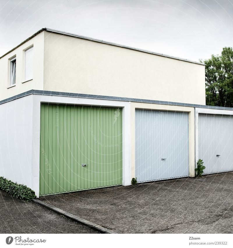 Blue White Green House (Residential Structure) Window Architecture Gray Germany Arrangement Concrete Gloomy Uniqueness Clean Simple Manmade structures Symmetry