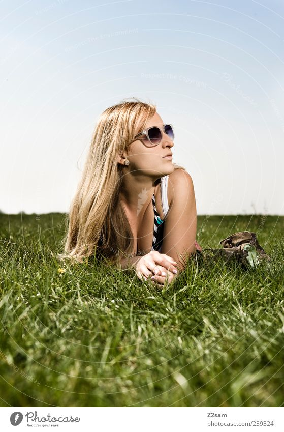 Sky Nature Youth (Young adults) Vacation & Travel Beautiful Summer Adults Face Relaxation Meadow Feminine Style Dream Contentment Blonde Young woman