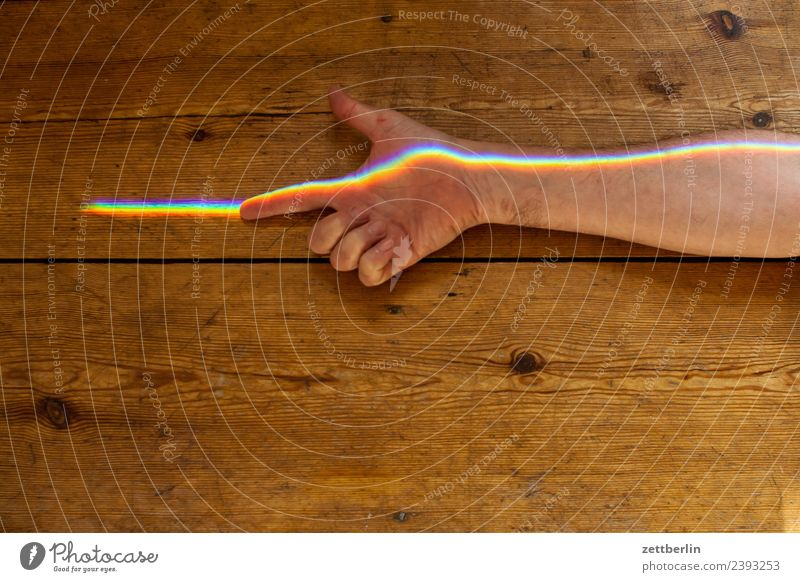 Index finger with coloured light (3) Arm Multicoloured Colour Fingers Hand Light Refraction Beam of light Man Human being Physics Prism Rainbow Prismatic colors