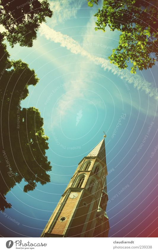 Skywards Beautiful weather Tree Church Manmade structures Hope Belief Church spire Vapor trail God Christianity Braunschweig Retro Colours Himmelsstürmer Above