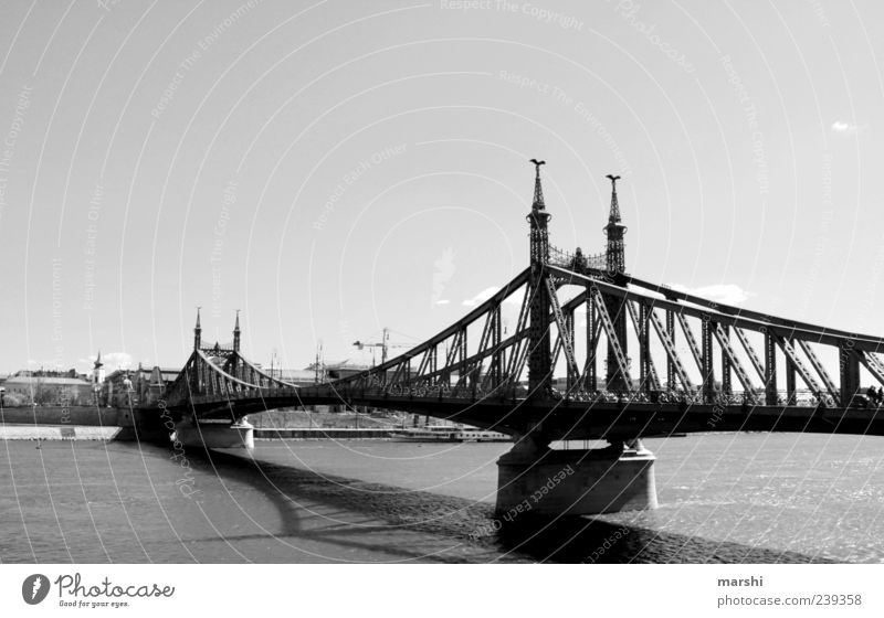 Sky Water Vacation & Travel Black Travel photography Bridge River Long Bridge railing Tourist Attraction Capital city Danube Budapest Black & white photo