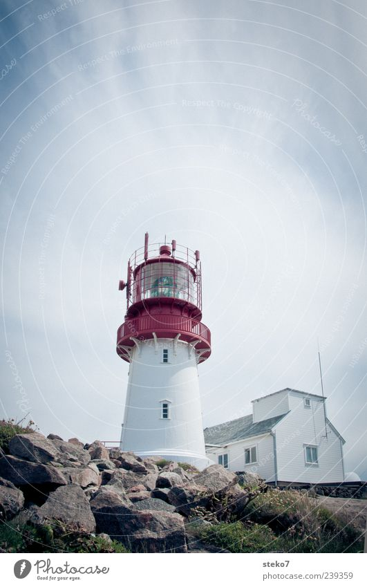 Red Steps Tower Coast House (Residential Structure) Lighthouse Blue White Safety Norway Vacation & Travel Colour photo Exterior shot Deserted Copy Space top Day