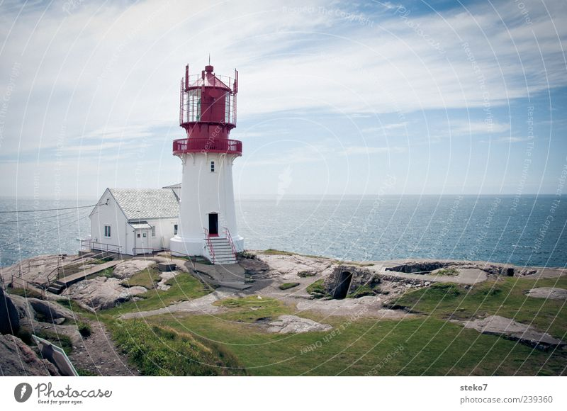 South Cape Sky Coast Ocean Deserted House (Residential Structure) Lighthouse Blue Green Red White Horizon Safety Far-off places Norway Vacation & Travel